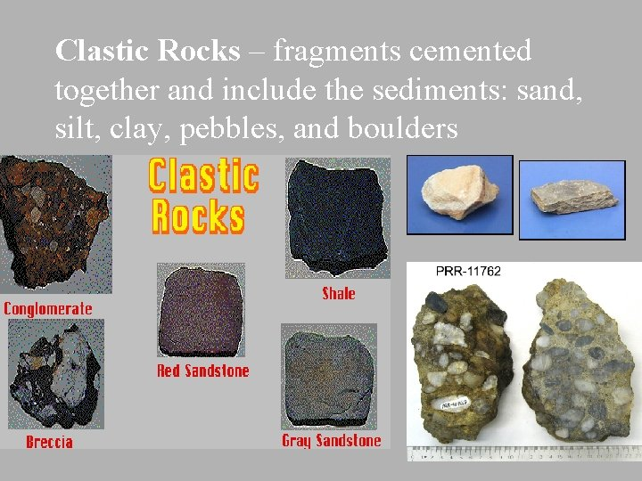 Clastic Rocks – fragments cemented together and include the sediments: sand, silt, clay, pebbles,
