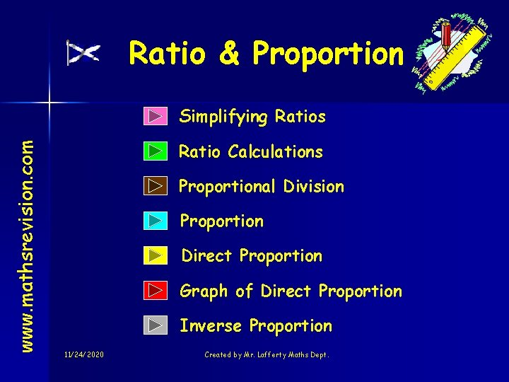 Ratio & Proportion www. mathsrevision. com Simplifying Ratios Ratio Calculations Proportional Division Proportion Direct