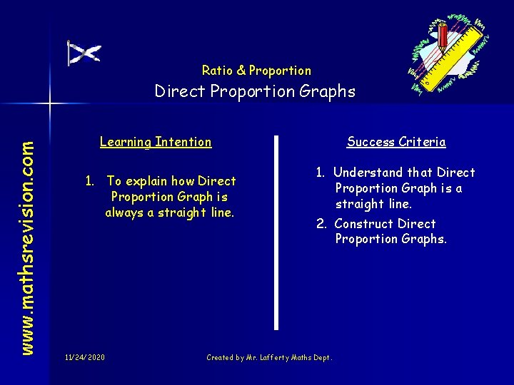 Ratio & Proportion www. mathsrevision. com Direct Proportion Graphs Learning Intention 1. To explain