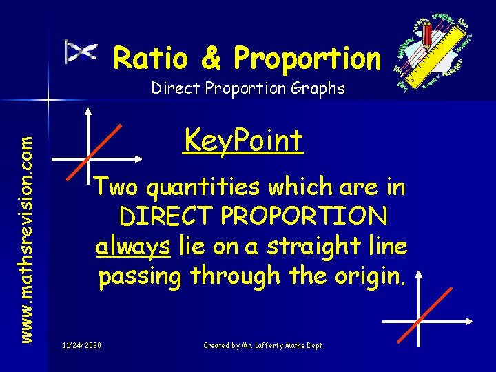 Ratio & Proportion www. mathsrevision. com Direct Proportion Graphs Key. Point Two quantities which