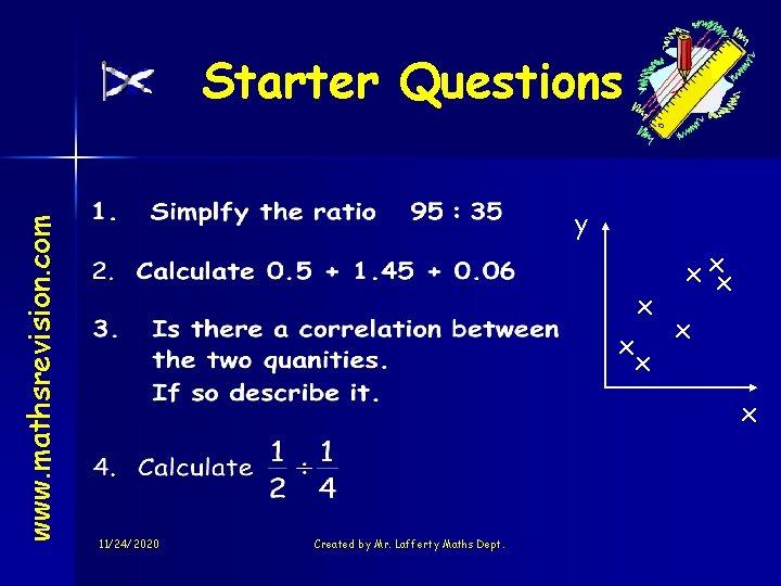 www. mathsrevision. com Starter Questions y x x xx x x 11/24/2020 Created by