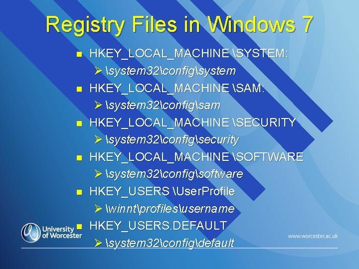 Registry Files in Windows 7 n n n HKEY_LOCAL_MACHINE SYSTEM: Ø system 32configsystem HKEY_LOCAL_MACHINE