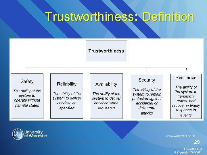 Trustworthiness: Trustworthiness Definition 29 [TSI/2012/183] © Copyright 2003 -2012