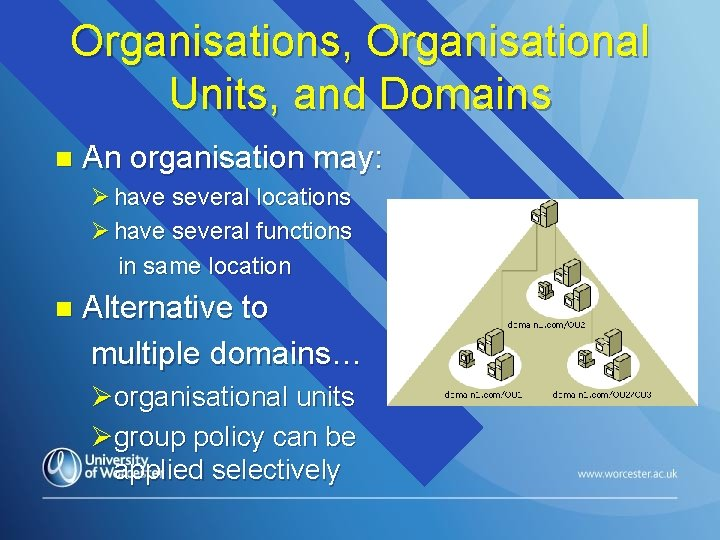 Organisations, Organisational Units, and Domains n An organisation may: Ø have several locations Ø
