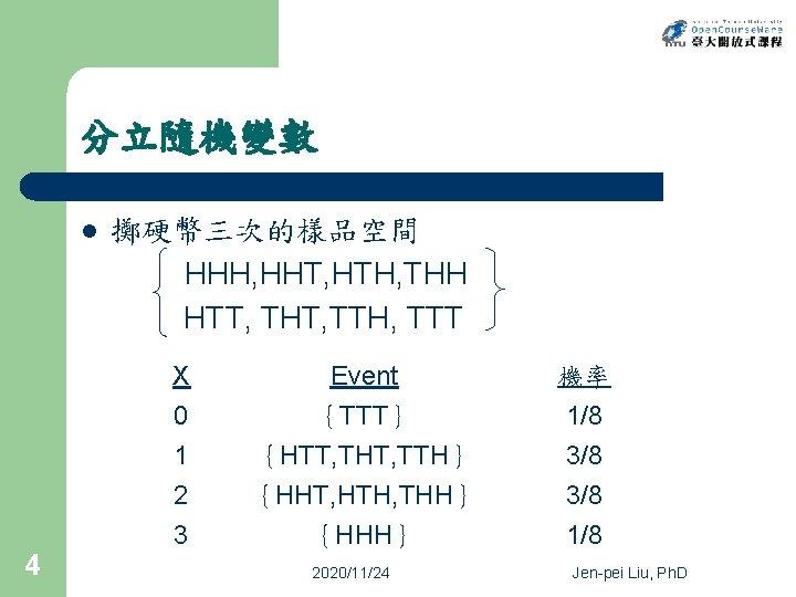 分立隨機變數 l 4 擲硬幣三次的樣品空間 HHH, HHT, HTH, THH HTT, THT, TTH, TTT X 0