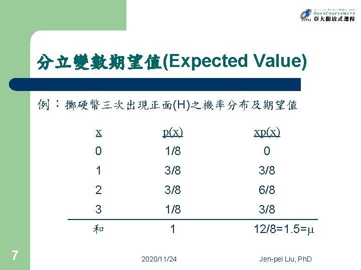 分立變數期望值(Expected Value) 例:擲硬幣三次出現正面(H)之機率分布及期望值 7 x p(x) xp(x) 0 1/8 0 1 3/8 2 3/8