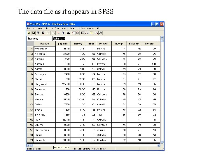 The data file as it appears in SPSS