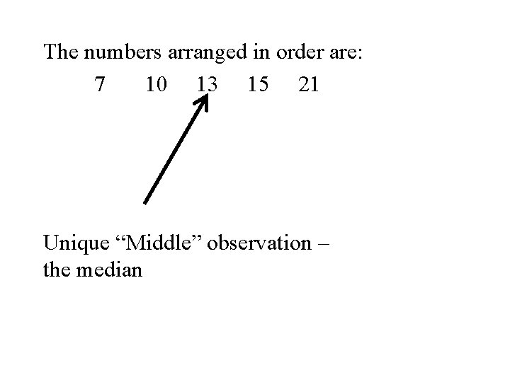 """The numbers arranged in order are: 7 10 13 15 21 Unique """"Middle"""" observation"""