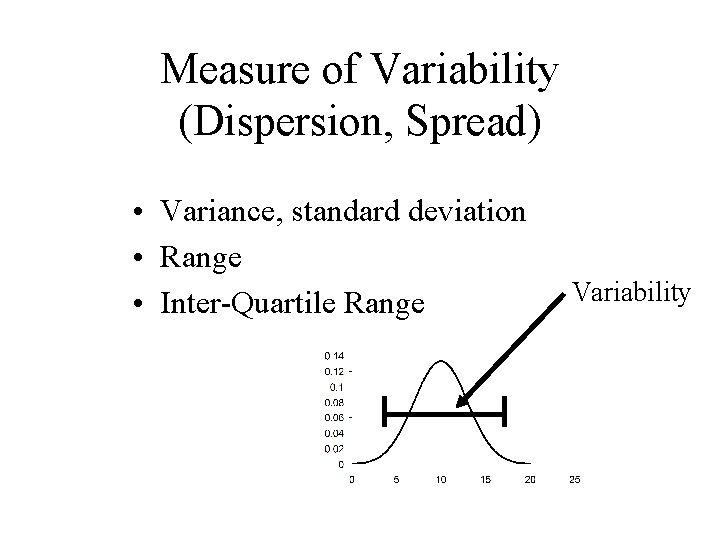 Measure of Variability (Dispersion, Spread) • Variance, standard deviation • Range • Inter-Quartile Range