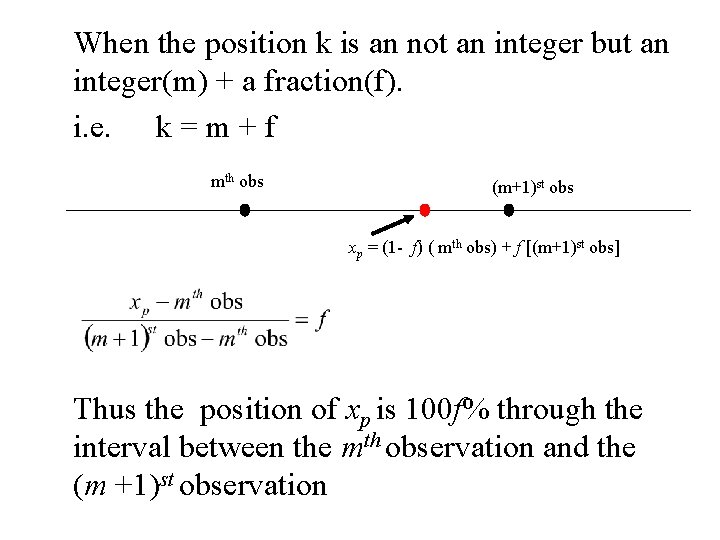 When the position k is an not an integer but an integer(m) + a