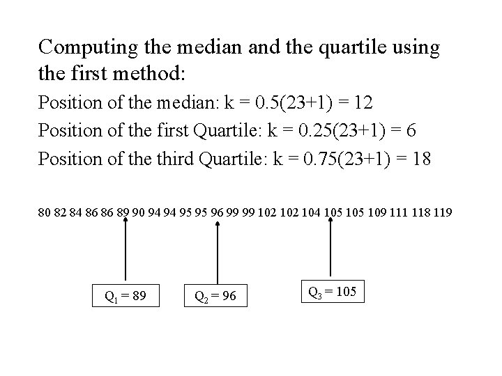 Computing the median and the quartile using the first method: Position of the median:
