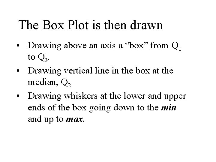 """The Box Plot is then drawn • Drawing above an axis a """"box"""" from"""