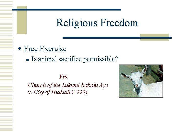 Religious Freedom Free Exercise Is animal sacrifice permissible? Yes. Church of the Lukumi Babalu