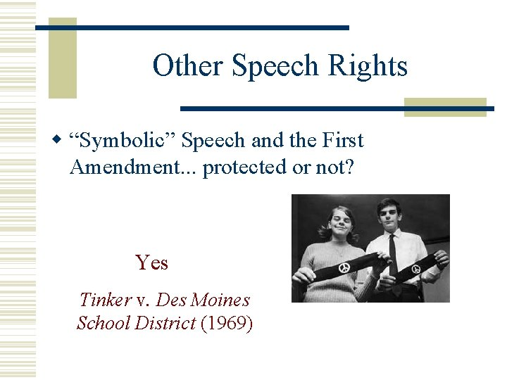 """Other Speech Rights """"Symbolic"""" Speech and the First Amendment. . . protected or not?"""