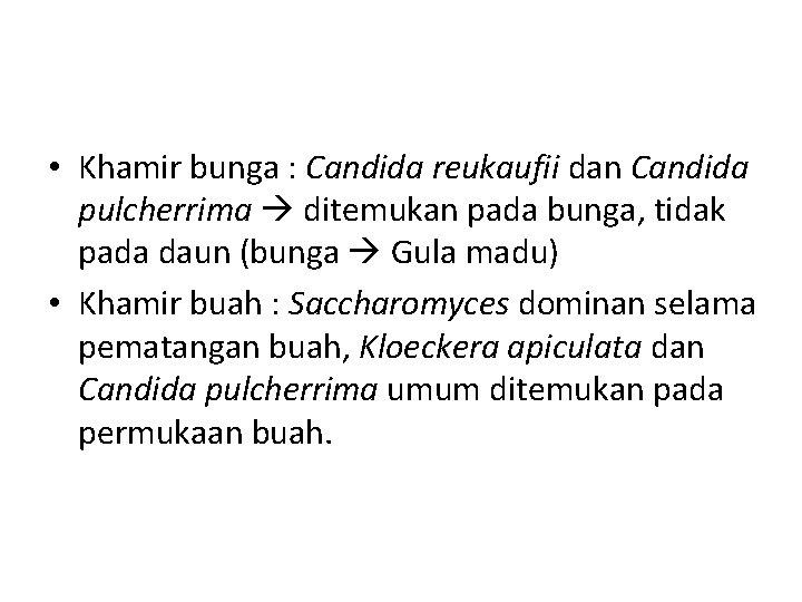 • Khamir bunga : Candida reukaufii dan Candida pulcherrima ditemukan pada bunga, tidak