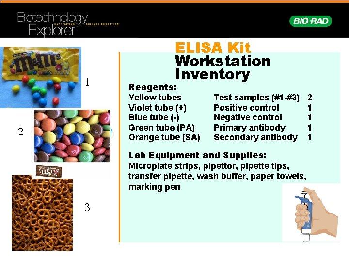 1 2 ELISA Kit Workstation Inventory Reagents: Yellow tubes Violet tube (+) Blue tube