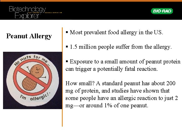 Peanut Allergy § Most prevalent food allergy in the US. § 1. 5 million