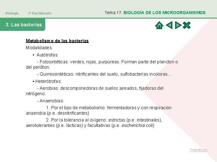 Biología 2º Bachillerato Tema 17. BIOLOGÍA DE LOS MICROORGANISMOS 3. Las bacterias Metabolismo de