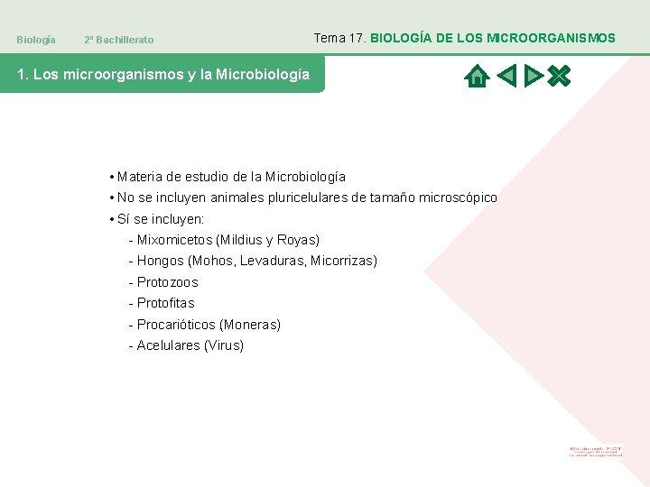 Biología 2º Bachillerato Tema 17. BIOLOGÍA DE LOS MICROORGANISMOS 1. Los microorganismos y la