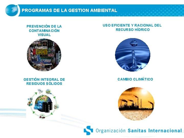 PROGRAMAS DE LA GESTION AMBIENTAL PREVENCIÓN DE LA CONTAMINACIÓN VISUAL GESTIÓN INTEGRAL DE RESIDUOS
