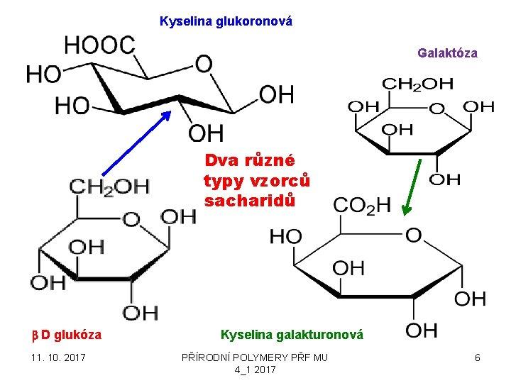 Kyselina glukoronová Galaktóza Dva různé typy vzorců sacharidů b D glukóza 11. 10. 2017