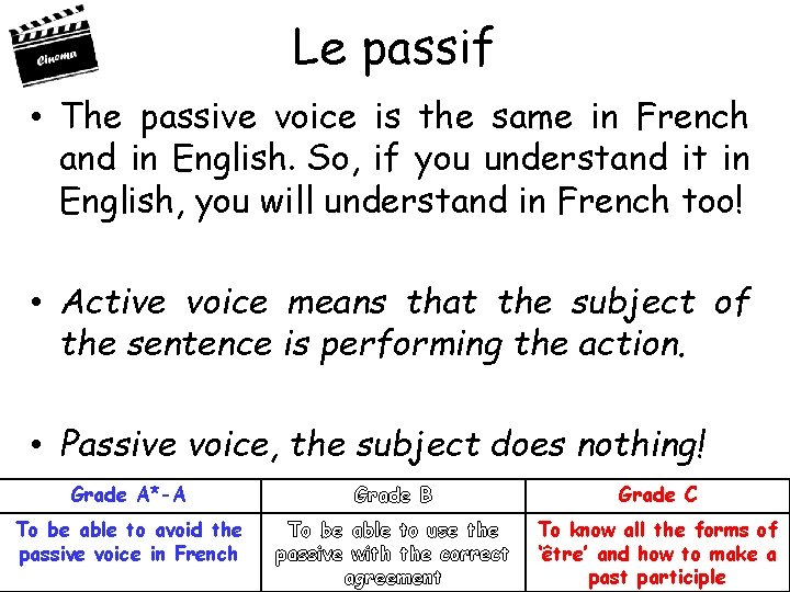 Le passif • The passive voice is the same in French and in English.