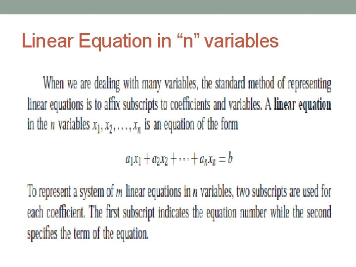 """Linear Equation in """"n"""" variables"""