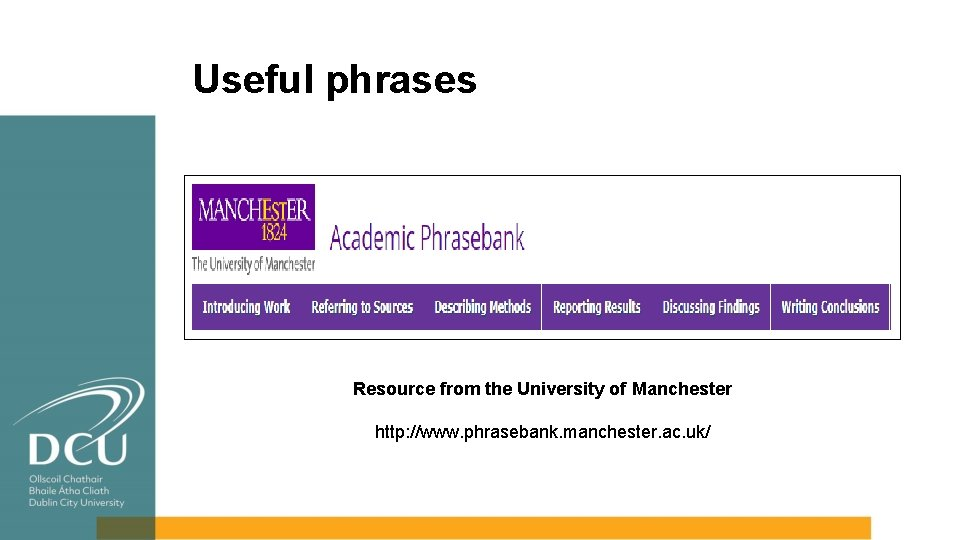 Useful phrases Resource from the University of Manchester http: //www. phrasebank. manchester. ac. uk/