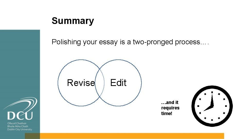 Summary Polishing your essay is a two-pronged process…. Revise Edit …and it requires time!