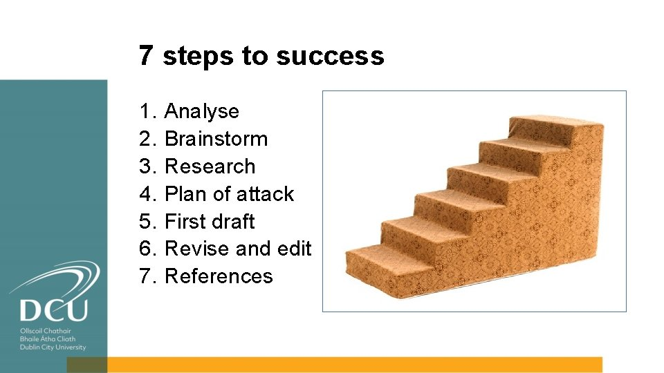 7 steps to success 1. 2. 3. 4. 5. 6. 7. Analyse Brainstorm Research