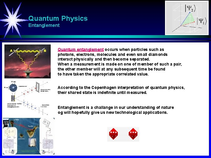 Quantum Physics Entanglement Quantum entanglement occurs when particles such as photons, electrons, molecules and