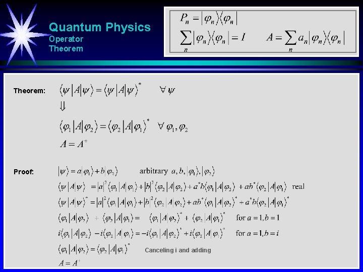 Quantum Physics Operator Theorem: Proof: Canceling i and adding
