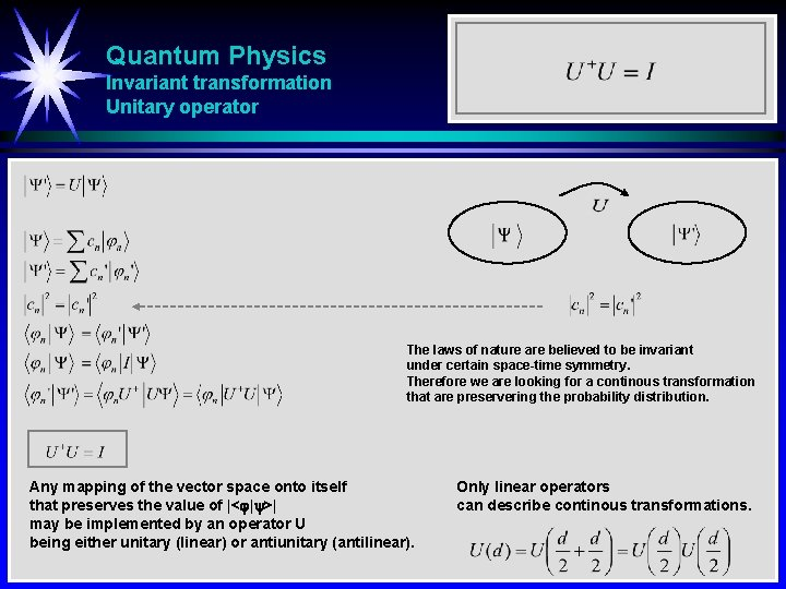 Quantum Physics Invariant transformation Unitary operator The laws of nature are believed to be