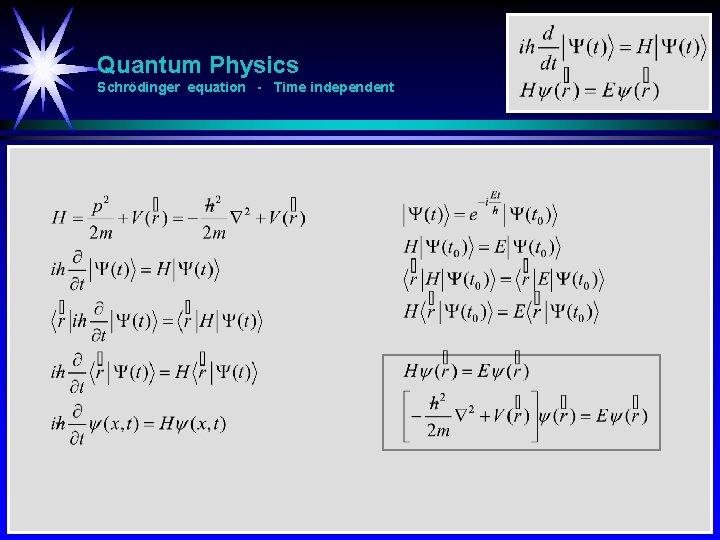 Quantum Physics Schrödinger equation - Time independent