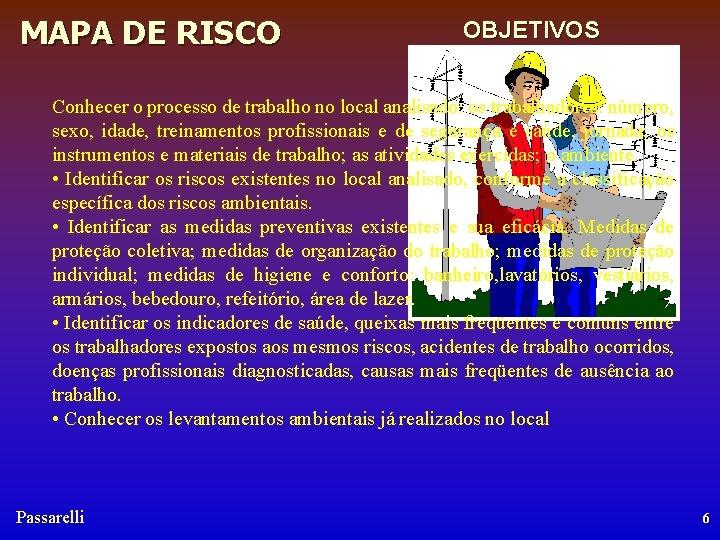 MAPA DE RISCO OBJETIVOS Conhecer o processo de trabalho no local analisado: os trabalhadores: