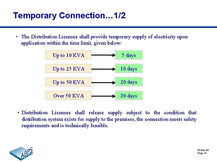 Temporary Connection… 1/2 • The Distribution Licensee shall provide temporary supply of electricity upon