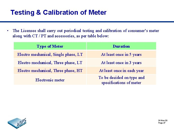 Testing & Calibration of Meter • The Licensee shall carry out periodical testing and