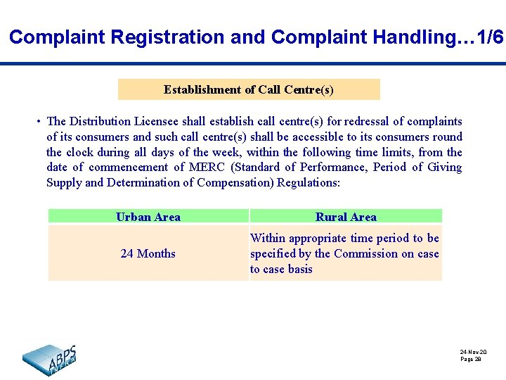 Complaint Registration and Complaint Handling… 1/6 Establishment of Call Centre(s) • The Distribution Licensee