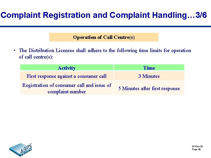 Complaint Registration and Complaint Handling… 3/6 Operation of Call Centre(s) • The Distribution Licensee