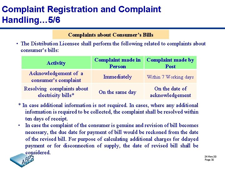 Complaint Registration and Complaint Handling… 5/6 Complaints about Consumer's Bills • The Distribution Licensee