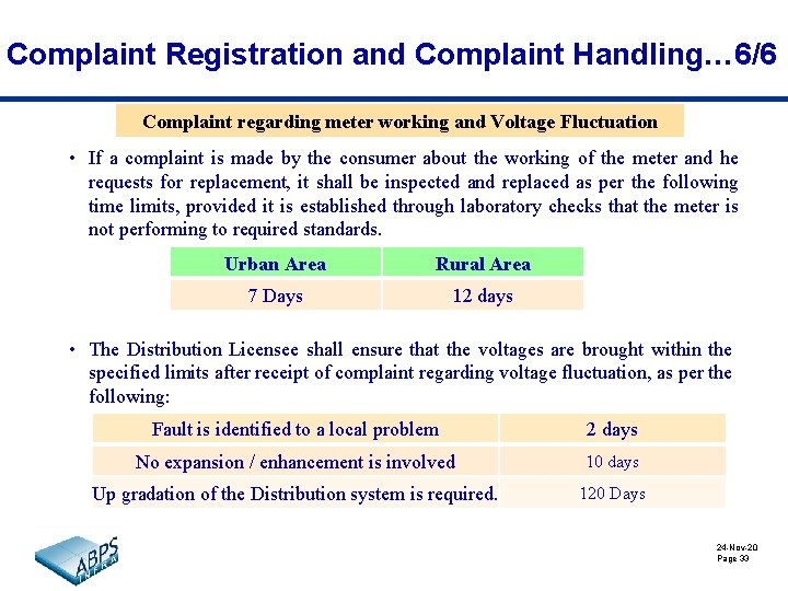 Complaint Registration and Complaint Handling… 6/6 Complaint regarding meter working and Voltage Fluctuation •