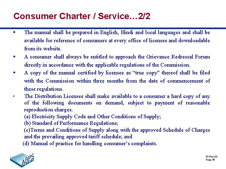 Consumer Charter / Service… 2/2 § § § • The manual shall be prepared