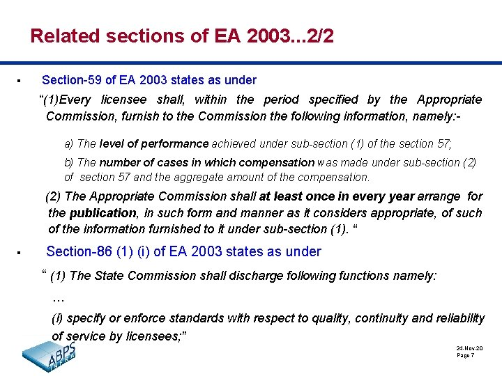 Related sections of EA 2003. . . 2/2 § Section-59 of EA 2003 states