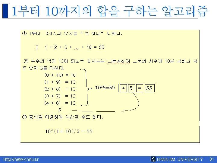 1부터 10까지의 합을 구하는 알고리즘 Http: //netwk. hnu. kr HANNAM UNIVERSITY 31