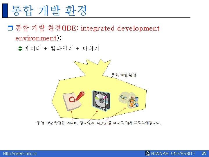 통합 개발 환경 r 통합 개발 환경(IDE: integrated development environment): Ü 에디터 + 컴파일러