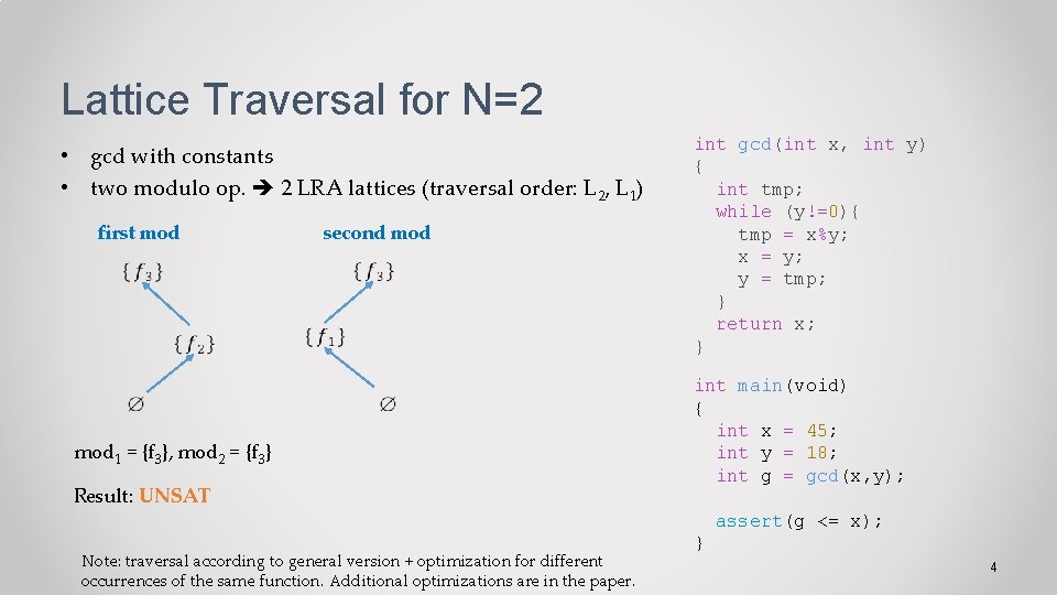 Lattice Traversal for N=2 • gcd with constants • two modulo op. 2 LRA