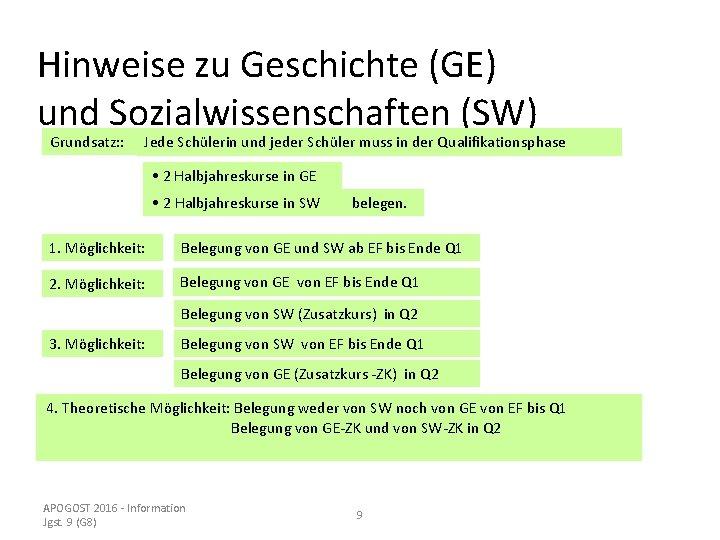 Hinweise zu Geschichte (GE) und Sozialwissenschaften (SW) Grundsatz: : Jede Schülerin und jeder Schüler