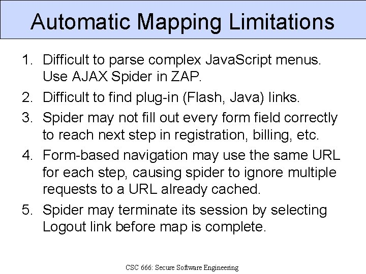 Automatic Mapping Limitations 1. Difficult to parse complex Java. Script menus. Use AJAX Spider