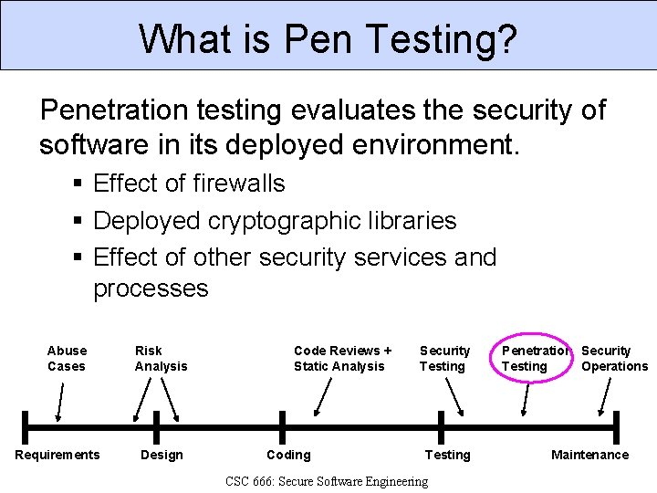 What is Pen Testing? Penetration testing evaluates the security of software in its deployed
