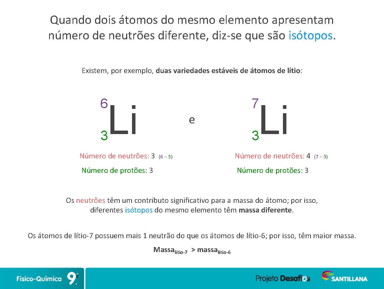 Quando dois átomos do mesmo elemento apresentam número de neutrões diferente, diz-se que são